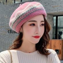 HT2610 Autumn Winter Hat Women Wool Berets Vintage Warm Retro Plaid Artist Painter Hats for Beret