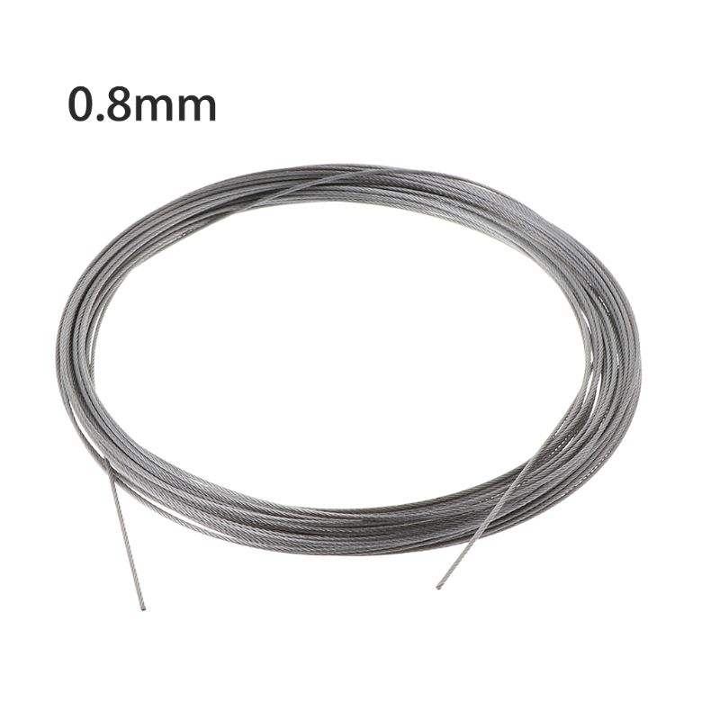 New 10m 304 Stainless Steel Wire Rope Soft Fishing Lifting Cable 7×7 Clothesline 83XA