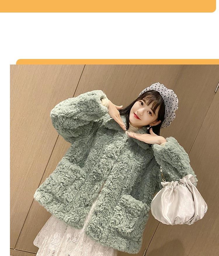 H2f1906da397045f684cffa5c05d68bc4b Plush jacket women winter short 2021 new Korean version of loose lamb wool faux fur leopard print fur coat women winter