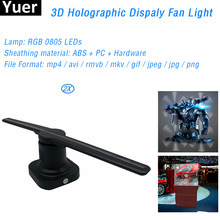 2 Stks/partij Met 8G Sd-kaart 3D Hologram Projector Fan Hologram Speler Led Display Fan Reclame Party Stage Decoraties licht(China)