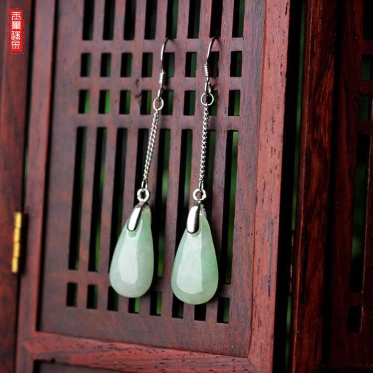 หยกธรรมชาติมรกต Luck Water Drop ต่างหูลูกปัด Charm เครื่องประดับอัญมณีแฟชั่นอุปกรณ์เสริมมือแกะสลัก Man Woman ของขวัญ Amulet
