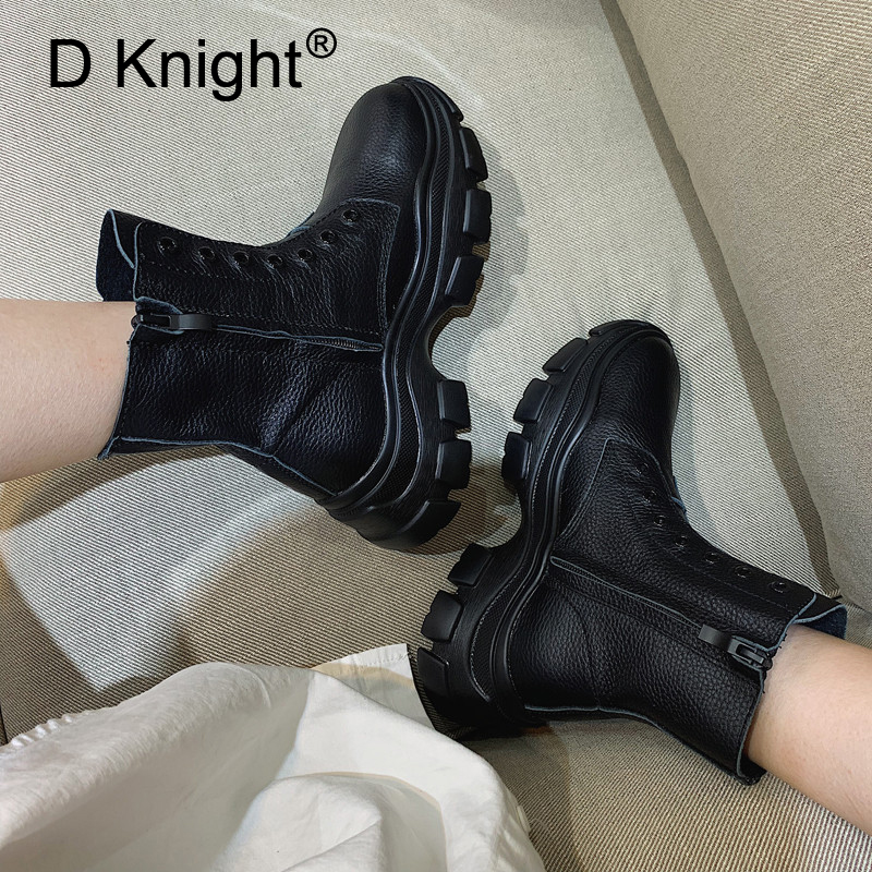 New Punk Women Boots Split Leather Black Short Ankle Boots For Women Increased Side Zipper Western Boots Shoes Woman High Heels