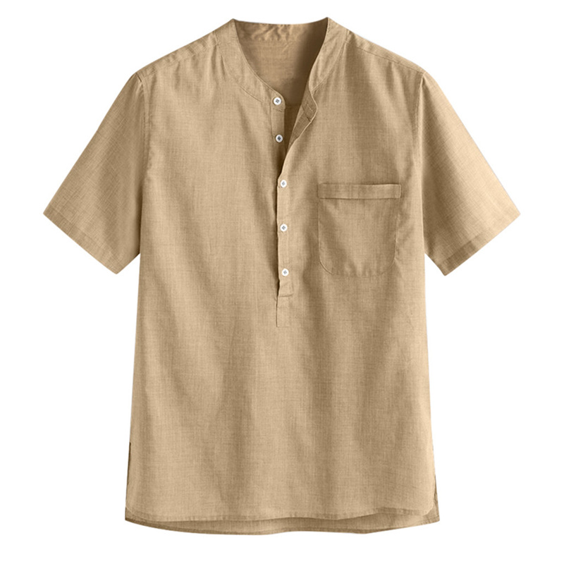 Benficial Mens Loose Multi Color Stripe Lump Chest Pocket Short Sleeve Round Hem Shirts 2019 Summer