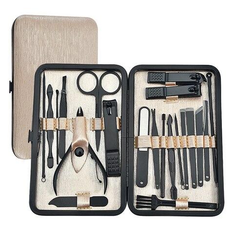 21 pc conjunto de ferramentas de manicure pedicure conjunto de unhas de aco inoxidavel kit