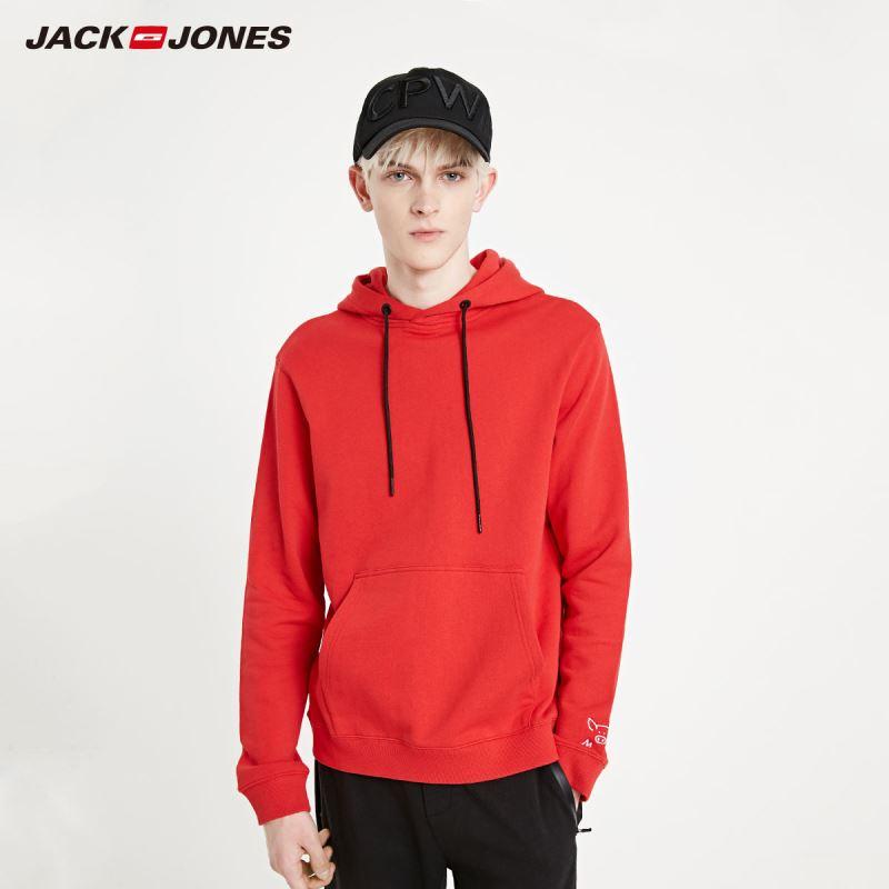 JackJones Men's Loose Fit Red Embroidered Hoodie Basic| 219133525