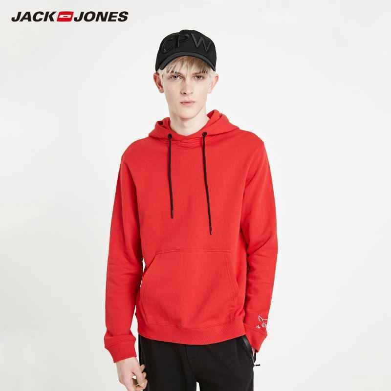 Jackjones Nam Dáng Rộng Đỏ HOODIE THÊU Cơ Bản | 219133525