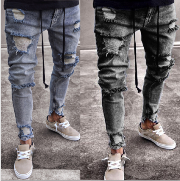 Trendy Jeans Men's Gray Hole Stretch Elastic Zipper Men's Pants  1100