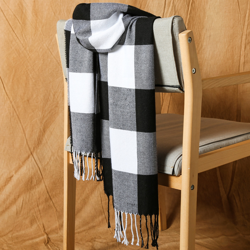 Faux Sheep Black And White Velvet Men's Scarf With Tassel Warm Japan And South Korea Sweet Wind Long Scarf Male 2020 Spring