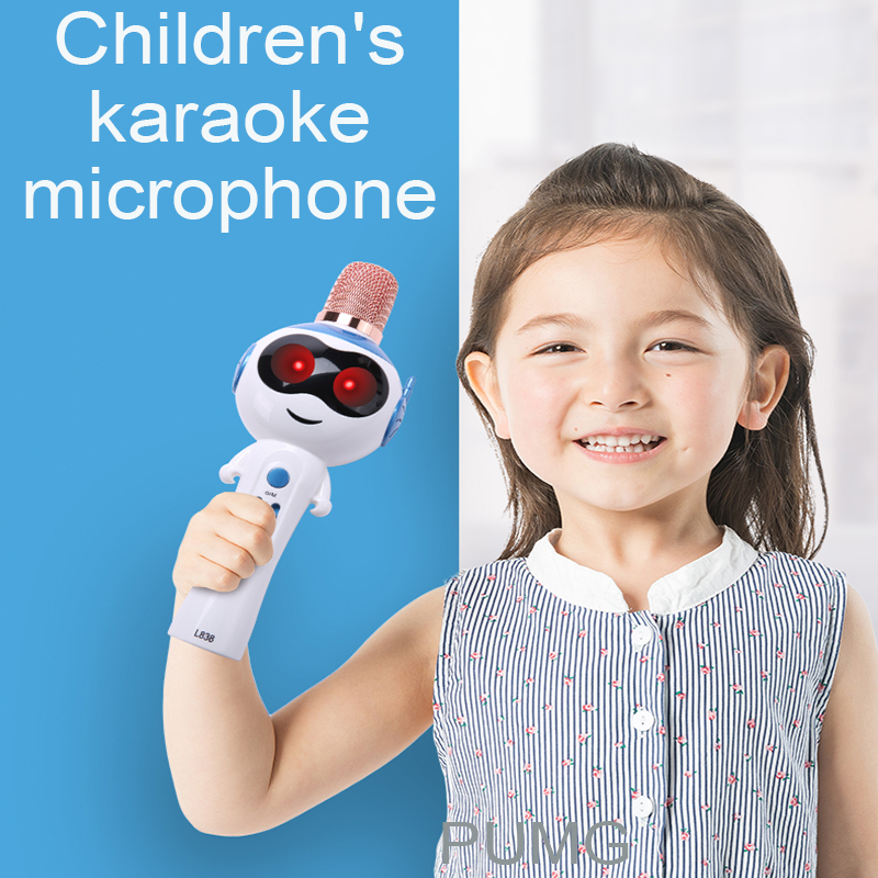 Children Wireless Microphone Bluetooth Karaoke Support TF LED Light Sound Change Handheld Kid Condenser Microphone For Music Toy