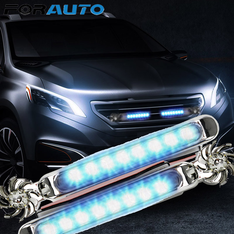 1 Pair Car Daytime Running Lights No Need External Power Supply LED Wind Powered Vehicle Lights With Rotation Fan Car Lamp