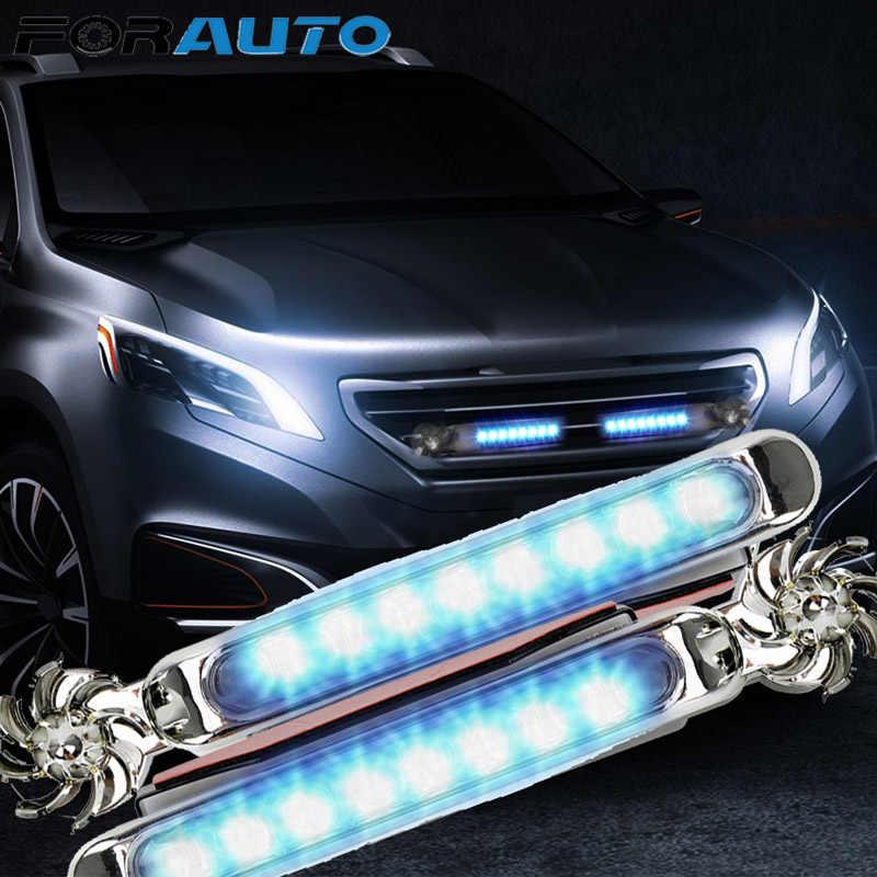 1 çift araba gündüz farları gerek harici güç kaynağı ledi rüzgar enerjili araç ışıkları dönme fanı araba farı