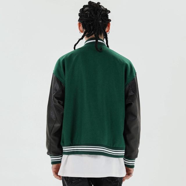 Hip Hop Furry Bone Patchwork Color Block Jackets Mens Harajuku College Style Bomber Jacket Men Baseball Coats 3 color 6