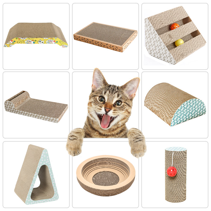 Corrugated Cat Scratch Board Pad Grinding Nails Interactive Protecting Furniture Cat Toy Large Size Cat Scratcher Toy Cardboard