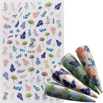 цена на 1 Pc Colorful Marple Leaf/Lavender 3D Nail Sticker Flower Pattern Nail Art Transfer Stickers DIY Nail Decoraion