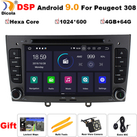 PX6 Hexa Core DSP 4G+64G Android 9 car dvd multimedia player for PEUGEOT 308 2007 2013,408 2011 2014 GPS radio WIFI BT head unit