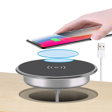 Fast Wireless Charger For iPhone11 Pro Max Xs XR X 8 Plus Phone Charger Furniture Office Desk Mounted Embedded Charging Pad