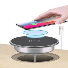 מהיר אלחוטי מטען עבור iPhone11 פרו מקס Xs XR X 8 בתוספת טלפון מטען ריהוט שולחן במשרד רכוב מוטבע טעינה כרית