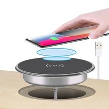 高速ワイヤレス充電器iPhone11 プロマックスxs xr × 8 プラス電話充電器家具オフィスデスクマウント組み込み充電パッド
