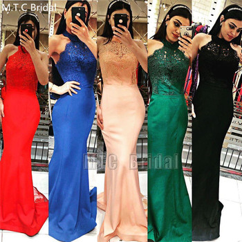 Royal Blue Sexy Mermaid Backless Prom Dresses Appliques Elastic Satin Long Bridesmaid Wedding Party Dress Wholesale Robe Soiree