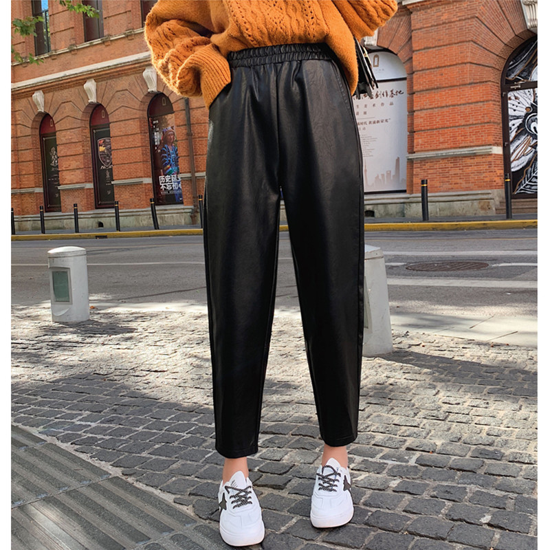 JUJULAND Autumn Brand New Women PU Leather Pants High Waist Faux Leather Ladies Trousers Winter Pants Harem Pants Pantalon 9903