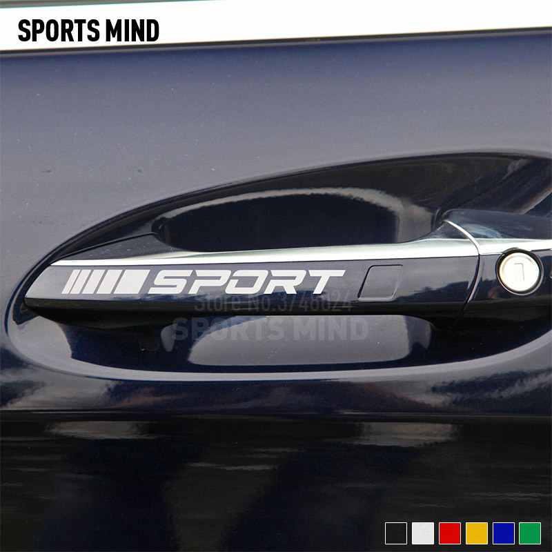 5 Sets Sport Vinyl Car <font><b>Door</b></font> <font><b>Handle</b></font> Stickers Decals For <font><b>Mercedes</b></font> Benz <font><b>AMG</b></font> W117 CLA45 W205 C63 W212 E63 W207 W176 <font><b>A45</b></font> X156 GLA45 image