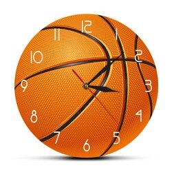 Bola de basquete 3d ilusão moderno impresso relógio parede do berçário da sala menino movimento silencioso relógio de basquete meninos presente