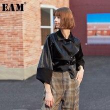 [EAM] Loose Fit שחור סימטרי עור מפוצל מעיל חדש דש ארוך שרוול נשים מעיל אופנה גאות אביב סתיו 2020 1H079