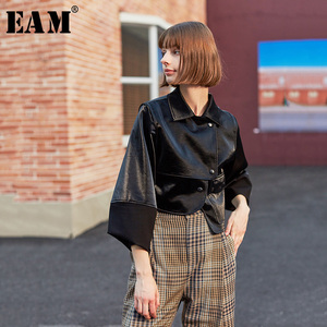 Image 1 - [EAM] luźny krój czarny asymetryczna kurtka ze skóry sztucznej nowa z klapami z długim rękawem płaszcz damski moda fala wiosna jesień 2020 1H079