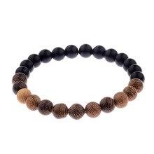 8mm New Natural Wood Beads Bracelets Men Black Ethinc Meditation black Bracelet Women Prayer Jewelry Yoga