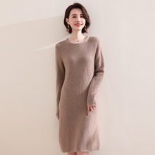 Women Dress Pashmina-Dresses Knitted-Jumpers Long-Sleeve Winter Fashion Ladies for Goat