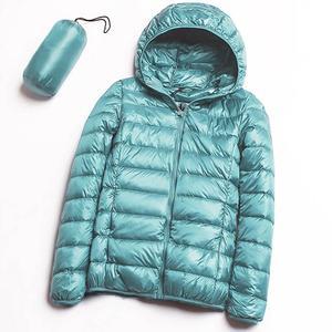 Image 1 - フード付きダウンジャケット冬の女性の暖かいコートパーカー女性超軽量薄型ダウンジャケット長袖ポータブル生き抜く 2020 6XL