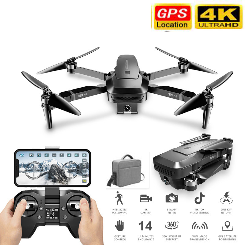VISUO ZEN K1 RC <font><b>Drone</b></font> <font><b>5G</b></font> WIFI GPS Brushless 50X Zoom 4K Dual Camera 30mins Flight Times Beauty Filter Figure RC Quadcopter <font><b>Drone</b></font> image