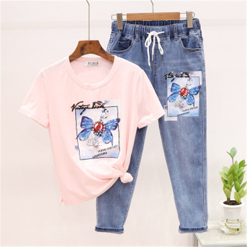 2020 Summer Fashion Female Set Beading Butterfly Print T-shirt + Denim Pants Set Cotton Tops Jeans 2 Piece Sets Womens Outfits
