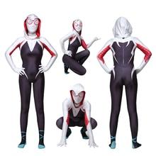 Kids Spider-Man Gwen Stacy  Cosplay Costume Zentai Spider Man Superhero Halloween Suit Jumpsuits