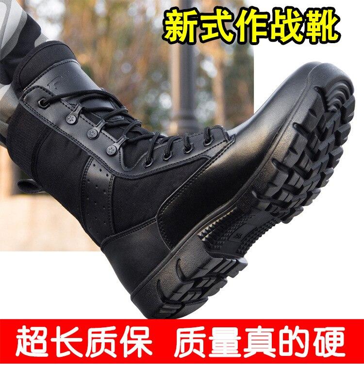 Genuine Leather Unitary Qi-Mountain Climbing Combat Boots Men's Ultra-Light CQB Tactical Boots Combat Boots Wool Boots Big Dumb