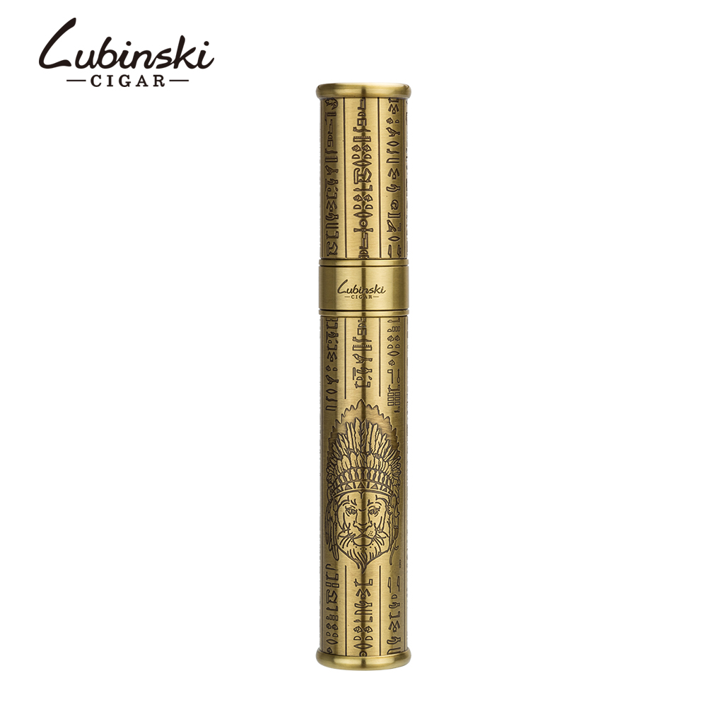 LUBINSKI Gold Copper Carving Single Cigar Accessories Big Diameter Gadgets Travel Portable Cigar Tube With Gift Box