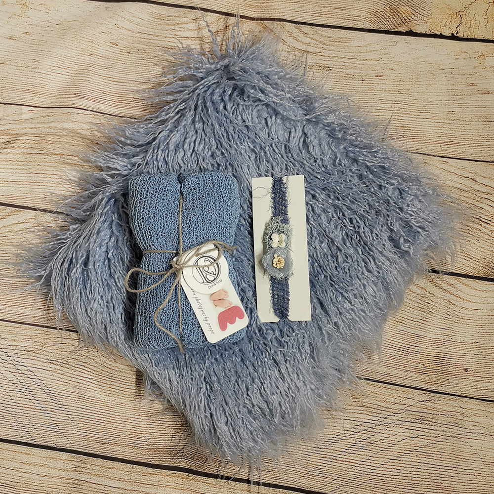 75 *50 Cm Mongolia Faux Fur Blanket +140*30cm Stretch Knit Wrap+matched Cotton Headband For Newborn Photography Props Baby Shoot