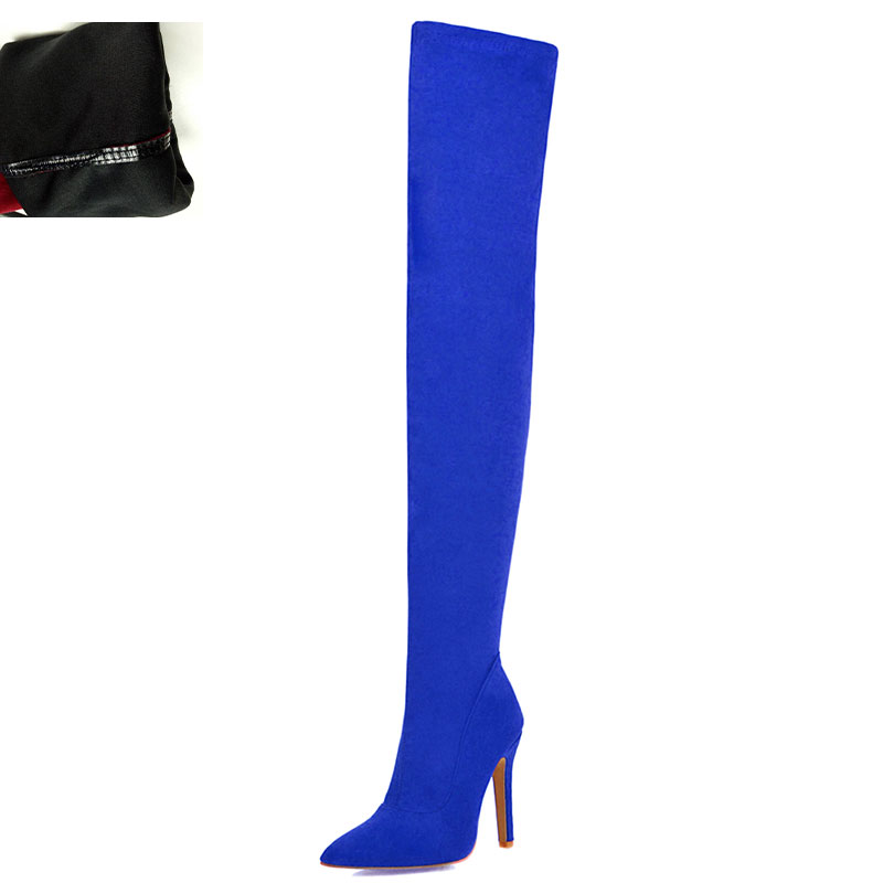 Новая Брендовая женская обувь женские ботфорты выше колена, большие размеры 32-48 пикантные вечерние сапоги на тонком высоком каблуке Женская обувь - Цвет: Blue without plush