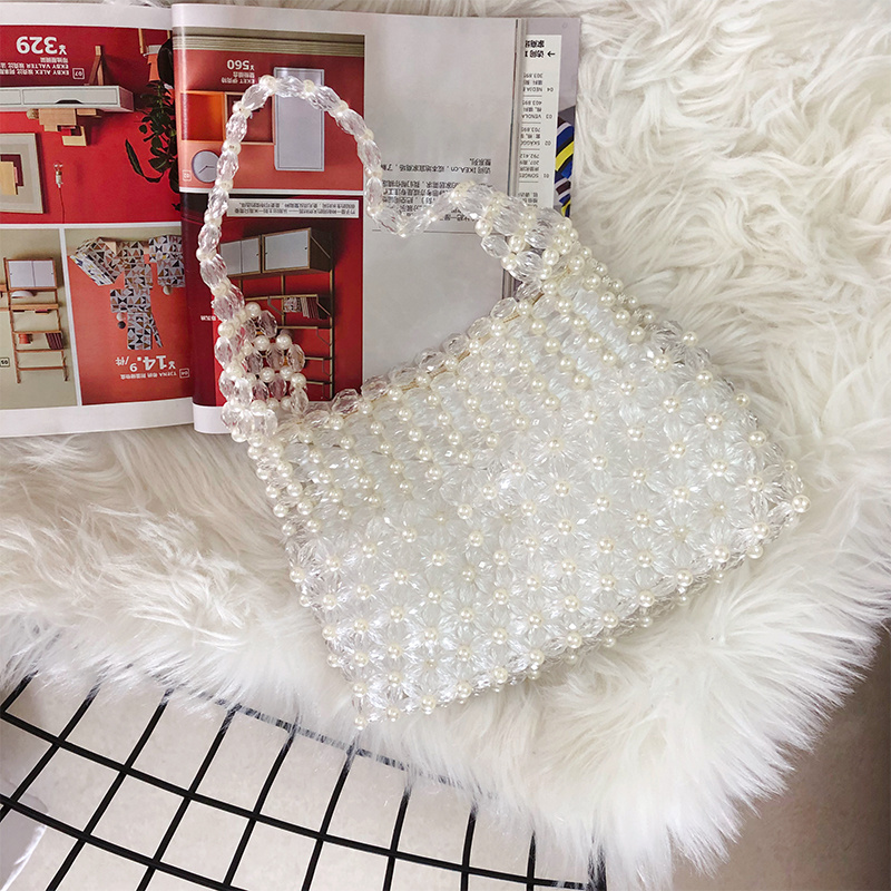 Shell Transparent Vintage Handmade Beaded Dinner Laptop Shoulder Bag