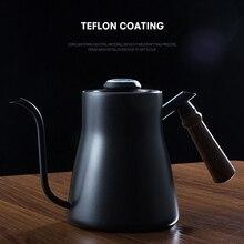 טפטוף קומקום 850ML קפה תה סיר נירוסטה טפלון קפה טפטוף קומקום עם Creative מדחום עם עץ ידית
