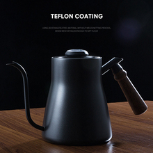 Drip Kettle 850ML Coffee Tea Pot Stainless Steel Teflon Coffee Drip Kettle with Creative Thermometer with wooden handle