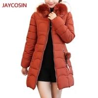 JAYCOSIN Women's Parkas Women Hooded Solid Outwear Warm Long Thick Fur Cotton Parka Slim Jacket Coat Hot sale L400830
