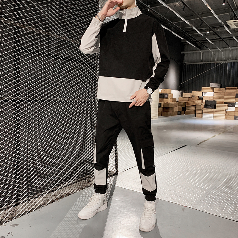 Causal 2020 Spring Splice Men Sets Jacket+Pants 2Pc Tracksuit Sportwear Hoodies Sweatshirt & Pant Suit Trainingspak Heren Men