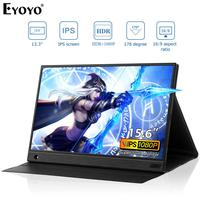 """Eyoyo EM15K Portable Monitor 15.6"""" LED USB Type C Hdmi gamer Monitor ips 1080p HDR FHD display for PS4 Xbox Switch Pc with Case"""