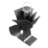 Durável 2 lâminas de alumínio preto calor alimentado fogão ventilador de poupança de combustível eco amigável queimador de madeira fogão ventilador ultra silencioso|Sopradores|   -