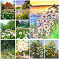 5D DIY Diamond Painting Small Daisy Cross Stitch Kits Full Square / Round Embroidery Mosaic Kit Flower Home Decoration Craft