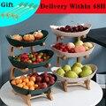2/3 Tiers Kunststoff Obst Platten mit Holz Halter Oval Schüsseln für Party Essen Server Display-ständer Obst Candy Regale