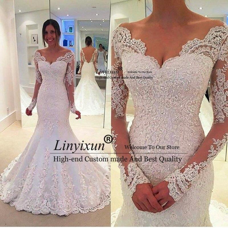Vestido de noiva, длинные рукава, свадебное платье русалки с прозрачной тюлевой спиной, сексуальные свадебные платья русалки, Robe de mariage Gelinlik