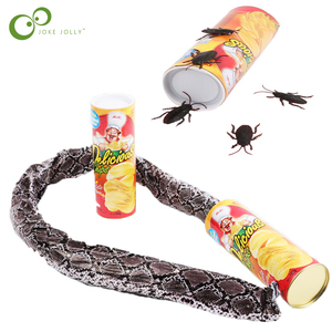 Funny Potato Chip Can Jump Spring Snake roach Toy Gift April Fool Day Halloween Party Decoration Prank Trick Fun Joke Toys ZXH