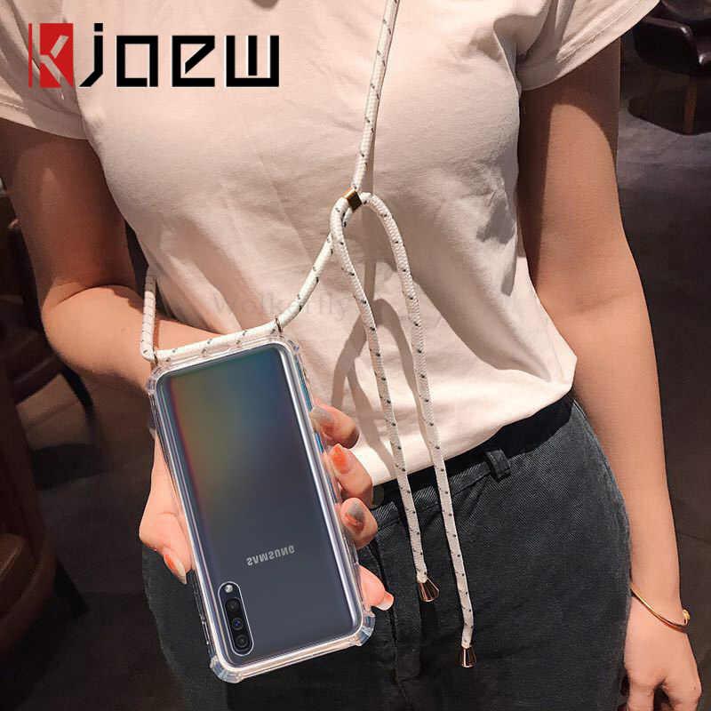 KJOEW רצועת כבל שרשרת שקוף מקרה טלפון עבור Samsung Galaxy S10 5G NOTE10 S10 S9 S8 בתוספת S10E הערה 9 8 S7 S7E שרוך כיסוי